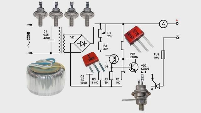 Схема регулятора мощности на тиристоре для зарядного устройства
