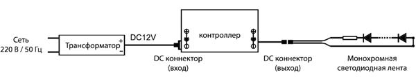 04-10 контроллер для монохромной светодиодной ленты. Схема подключения