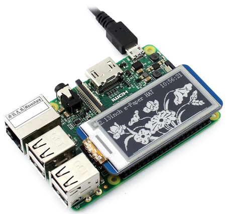E-Ink дисплей 250×122px форм-фактора HAT для Raspberry Pi - 2.13inch e-Paper HAT