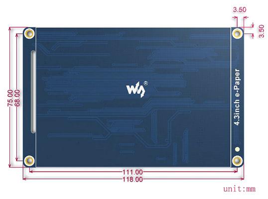 4.3inch e-Paper - размеры
