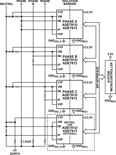 Типовая схема применения ADE7912
