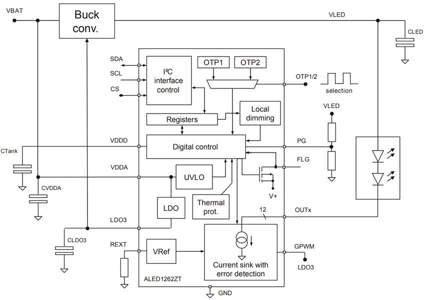 Типовая схема подключения ALED1262ZT