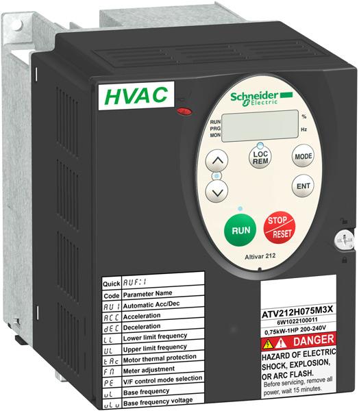 Altivar 212 – преобразователь частоты для управления 3-х фазными асинхронными электродвигателями на мощности от 0.75кВт до 75кВт