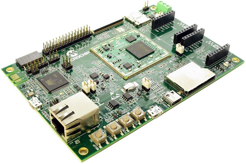 ATSAMA5D27-SOM1-EK1 оценочная плата на базе SoM модуля SAMA5D27-SOM1 (Cortex-A5, 1Гб DDR2)