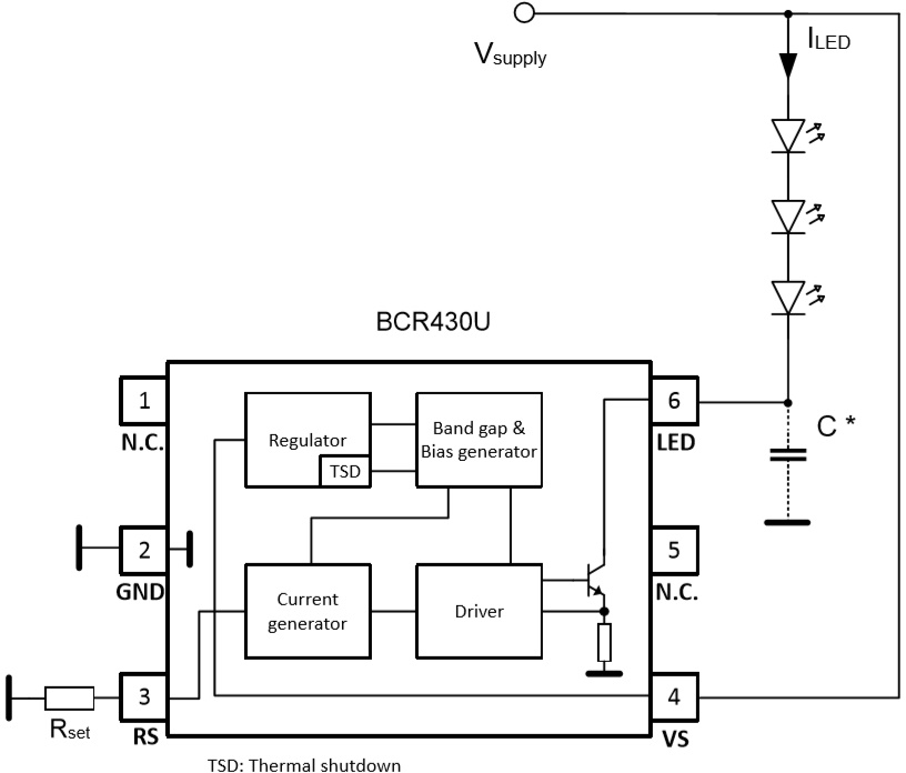 Блок-схема и схема включения BCR430U