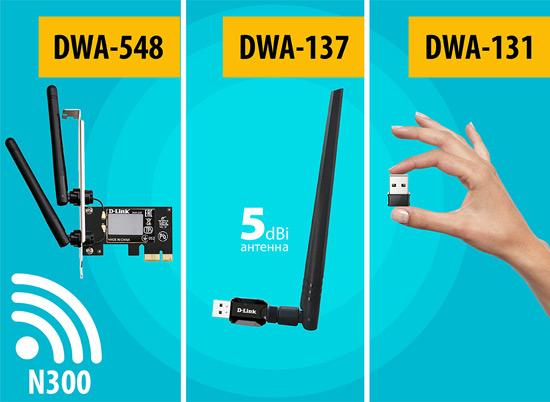 Беспроводные адаптеры Wi-Fi4 откомпании D‑Link