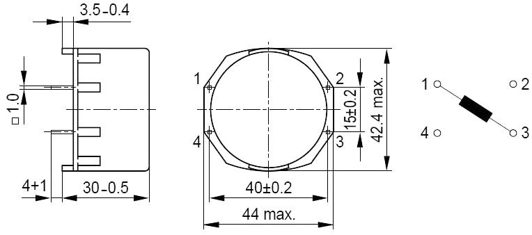 Силовые дроссели Epcos серии B82615. Чертеж