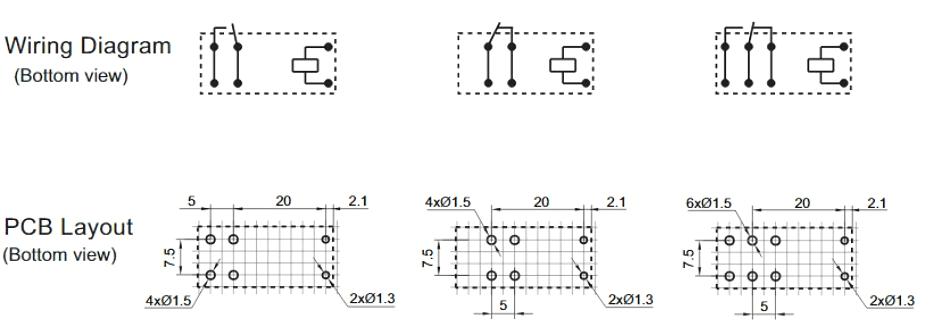 HF14FW Схема коммутации и разметка печатной платы