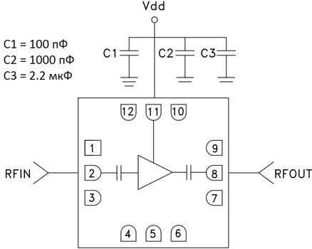 Типовая схема применения HMC441LC3B