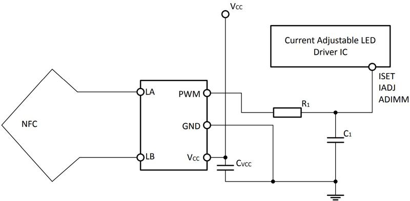 Модуль NFC программирования светодиодных драйверов NLM0010. Схема