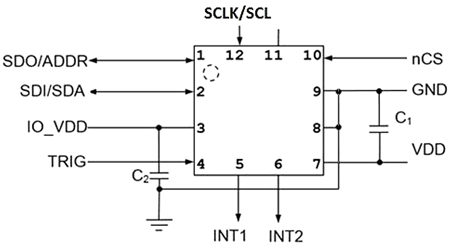 Типовая схема включения акселерометра KX134-1211