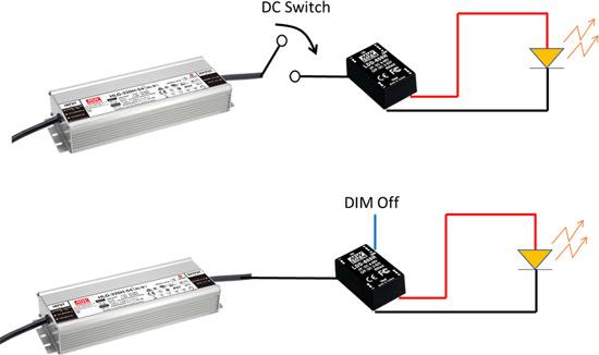 Использование выключателя или функции DIM off самого DC/DC конвертера