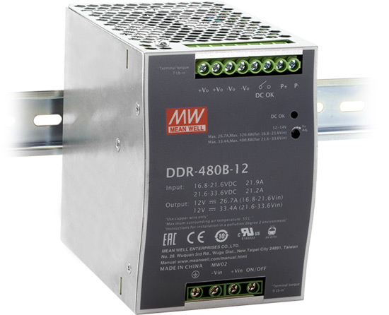 Серия DDR-480 – DC/DC преобразователи на DIN-рейку отMEANWELL