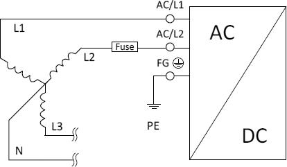 Схема подключения блоков питания серий WDR к трехфазной сети