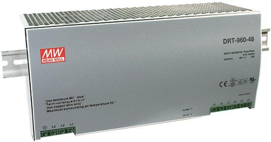 Серия DRT – 3-фазные AC/DC преобразователи на DIN-рейку отMEANWELL