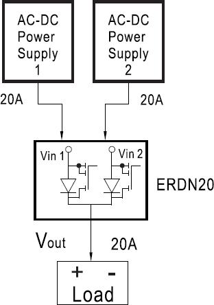 Типовая схема применения модуля резервирования ERDN20 по схеме 1+1