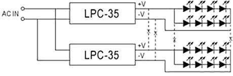 Рис.3. Подключение блоков питания светодиодных серий