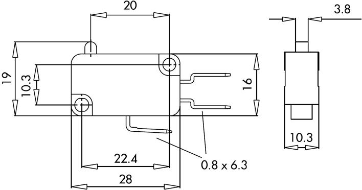 Габаритные размеры базовой модели микропереключателя серии MK1