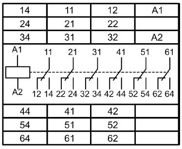 Промежуточное реле МРП-6. Схема подключения