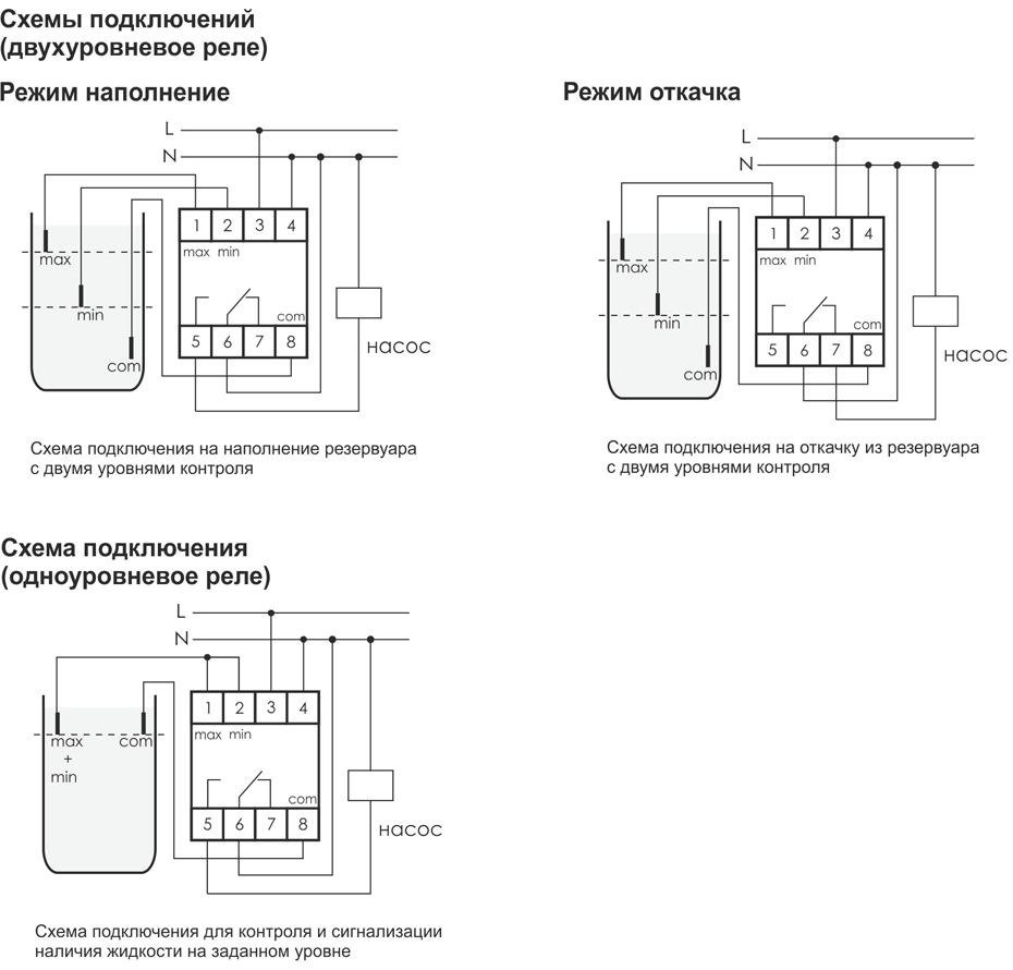 Схемы подключения PZ-827 для разных режимов работы