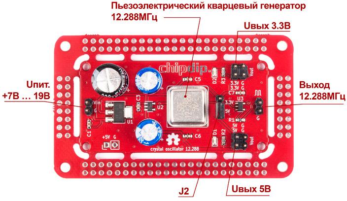 Кварцевый генератор 12.288 МГц, и стабилизаторы напряжения 5В и 3.3В. Новинки собственного производства