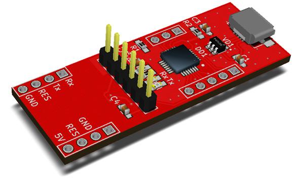 RDC1-USB-UART - преобразователь USB-UART с возможностью подключения Arduino Mini