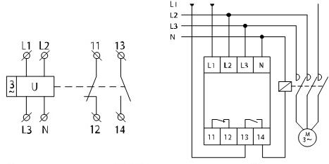Схема подключения РН 12-3х400/230В