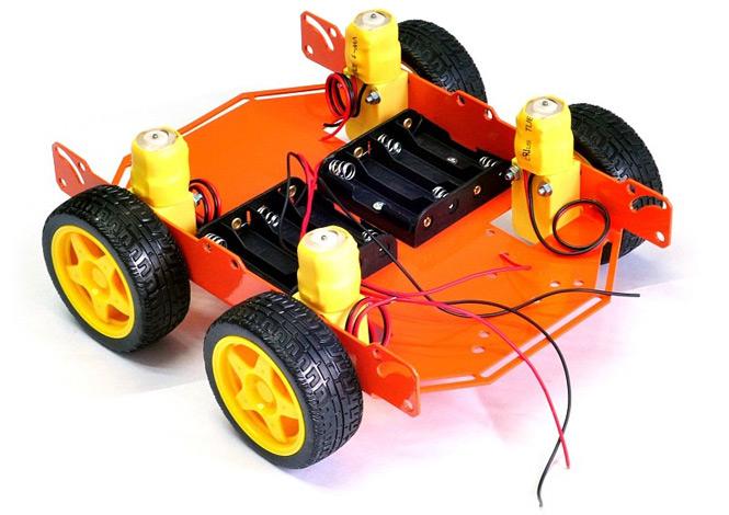 ШРЭК-4.1 четырехколесное металлическое шасси для построения мобильных роботов