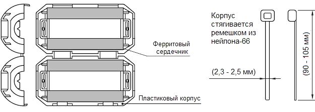 Ферритовые фильтры серии ZCAT. Чертеж
