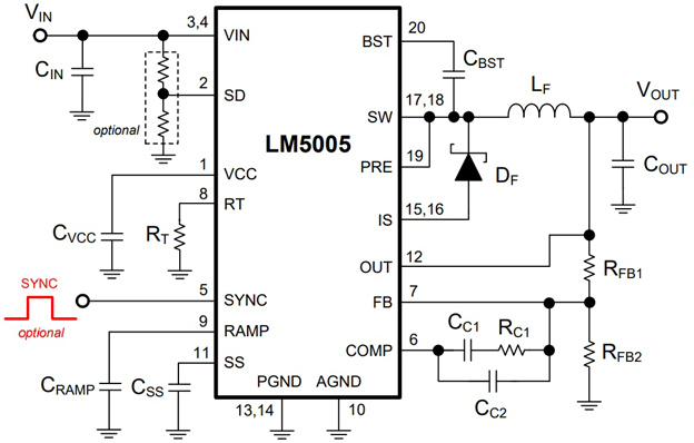 Типовая схема применения LM5005