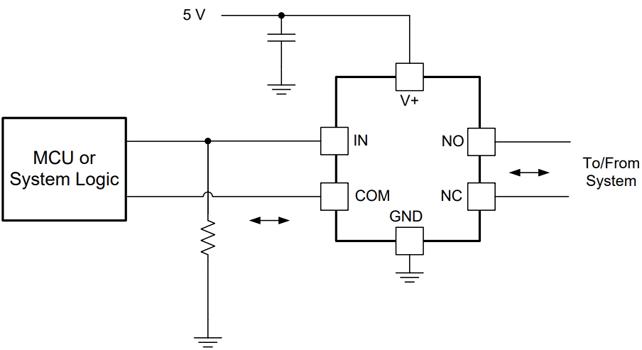 Типовая схема применения TS5A3159DCKR