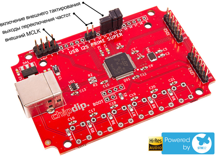 USB I2S преобразователь 32bit/96kHz, SUPERPRIME chipdip. Обновление прошивки до версии1.2