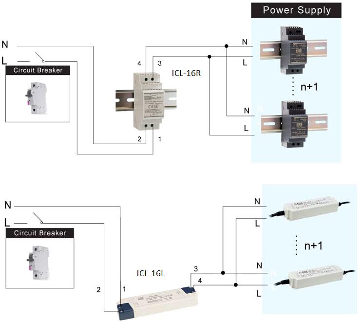 Типовая схема применения ограничителя пускового тока ICL