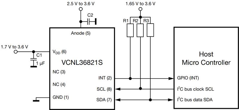 Типовая схема подключения VCNL36821S