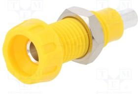 """563-0700, Гнездо, """"банан"""" 4мм, 10А, 28,5мм, желтый, Покрытие никелированные"""