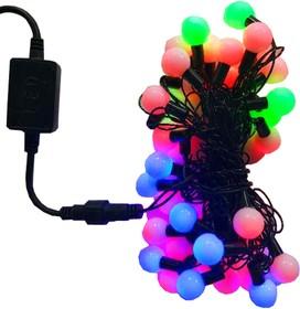 """15-40 Гирлянда уличная светодиодная, """"мультишарики"""", коннектор для соединения с блоком питания, черный шнур, двуцветный режим"""
