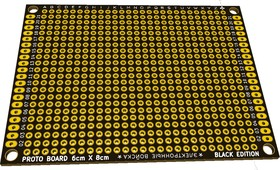Фото 1/2 PCB 60x80 black, Плата макетная, 60мм х 80мм, PCB (шаг2.54мм)