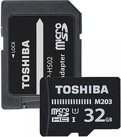 Фото 1/2 Карта памяти microSDXC UHS-I TOSHIBA M203 32 ГБ, 100 МБ/с, Class 10, THN-M203K0320EA, 1 шт., переходник SD