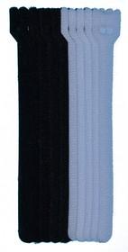 PL9608, Хомут-липучка (стяжка) 150мм х 12мм, 10 шт / 2 цвета (5 черный, 5 белый)