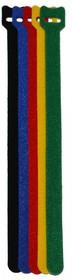 PL9621, Хомут-липучка (стяжка) 230мм х 13мм 5 шт / 5 цветов (черный, синий, красный, желтый, зеленый)