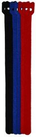 PL9622, Хомут-липучка (стяжка) 230мм х 13мм, 6 шт / 3 цвета (черный, синий, красный)