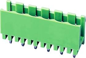 """2EHDV-10P, Клеммник 10 конт. """"вилка"""" шаг 5.08 мм открытый, вертик. на плату, до 300В/15А, зеленый изол."""