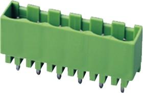 """2EHDVC-04P, Клеммник 4 конт. """"вилка"""" шаг 5.08 мм закрытый, вертик. на плату, до 300В/15А, зеленый изол."""