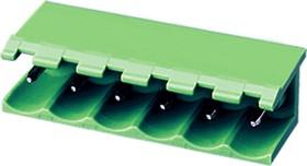 """5EHDR-05P, Клеммник 5 конт. """"вилка"""" шаг 5.00 мм открытый, прямой угол на плату, до 300В/15А, зеленый изол."""
