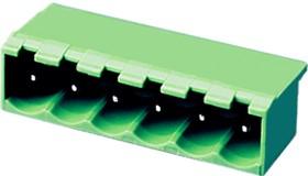 """5EHDRC-18P, Клеммник 18 конт. """"вилка"""" шаг 5.00 мм закрытый, прямой угол на плату, до 300В/15А, зеленый изол."""