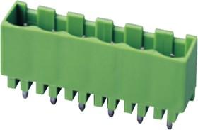 """5EHDVC-05P, Клеммник 5 конт. """"вилка"""" шаг 5.00 мм закрытый, вертик. на плату, до 300В/15А, зеленый изол."""
