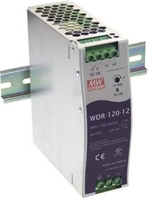 Фото 1/4 WDR-120-24, Блок питания, вход:1-2х фазное 180-550В, выход 24В,5А,120Вт