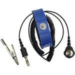 Антистатический браслет одноконтурный (пластиковый, регулируемый, синий, провод 1.5м)