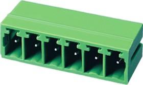 """ECH350R-04P, Клеммник 4 конт. """"вилка"""" шаг 3.50 мм закрытый, прямой угол на плату, до 300В/8А, зеленый изол."""