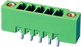 """ECH381VM-08P, Клеммник 8 конт. """"вилка"""" шаг 3.81 мм с боков. резьб. отверст., вертик. на плату, до 300В/8А, зеленый"""